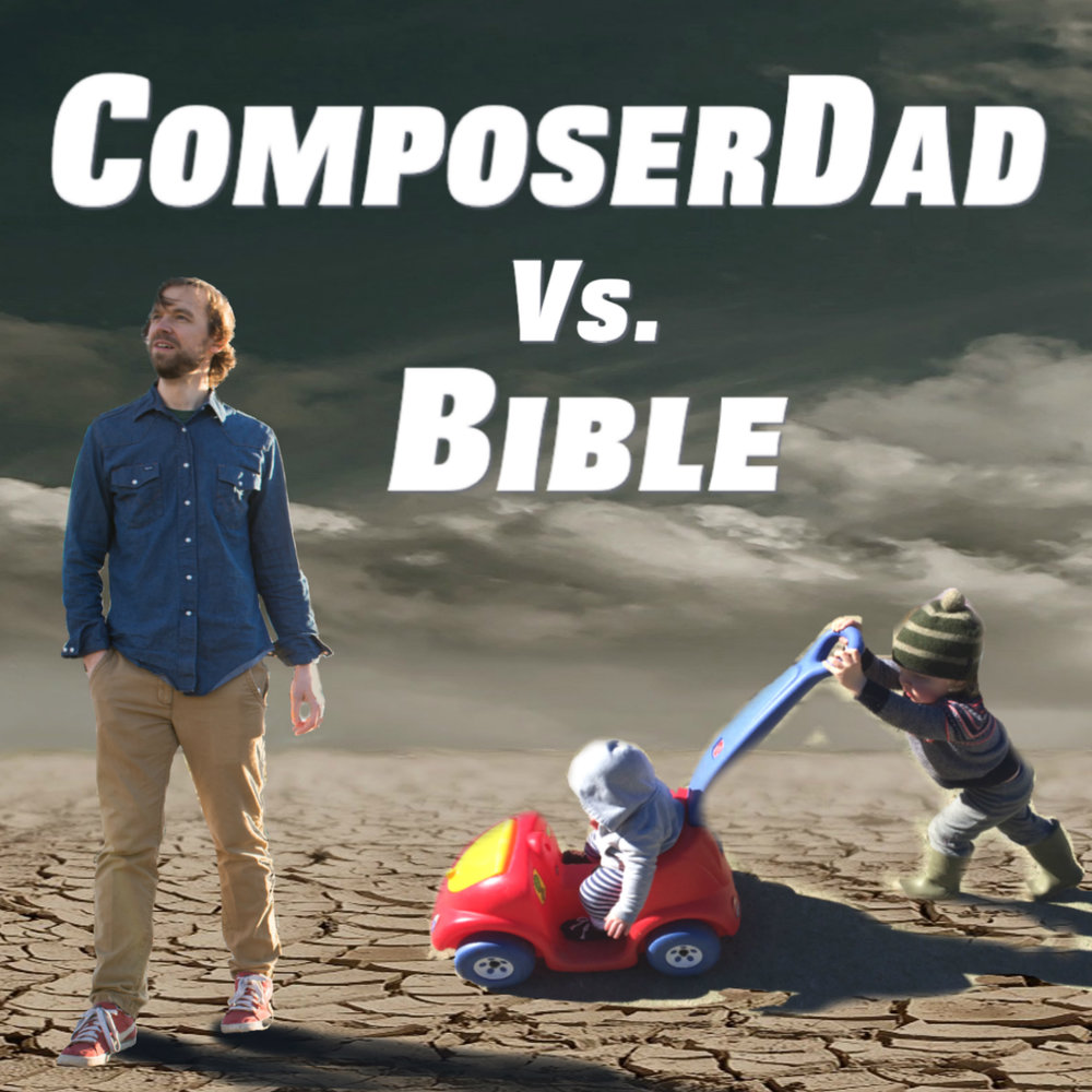 ComposerDad receives intense compositional challenges from mysterious BIBLE while out with his kids, BuilderBoy and SquishyBaby.