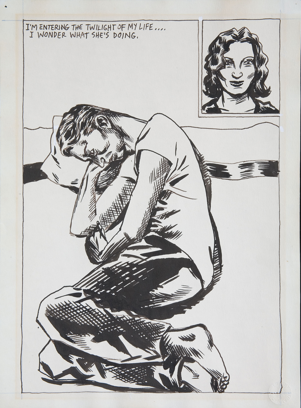 Raymond Pettibon No Title (I'm entering the…), 1984 Ink on paper Signed and dated in ink on verso Sheet: 13 x 9 inches; Framed Provenance: Private Collection, Los Angeles; Regen Projects, Los Angeles, CA, tag on verso Estimate: $15,000/$20,000