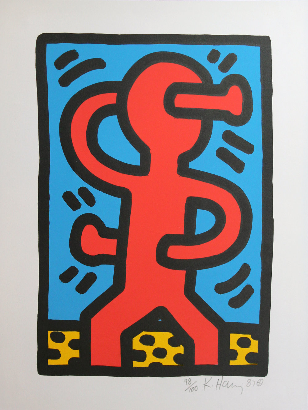 Keith Haring  Untitled, 1988 Silkscreen From the numbered edition of 100 Signed, numbered and dated in pencil on recto Image: 12 x 8.25 inches; Sheet: 15 x 11 inches; Framed: 20.5 x 16.75 inches Estimate: $5,000/$7,000