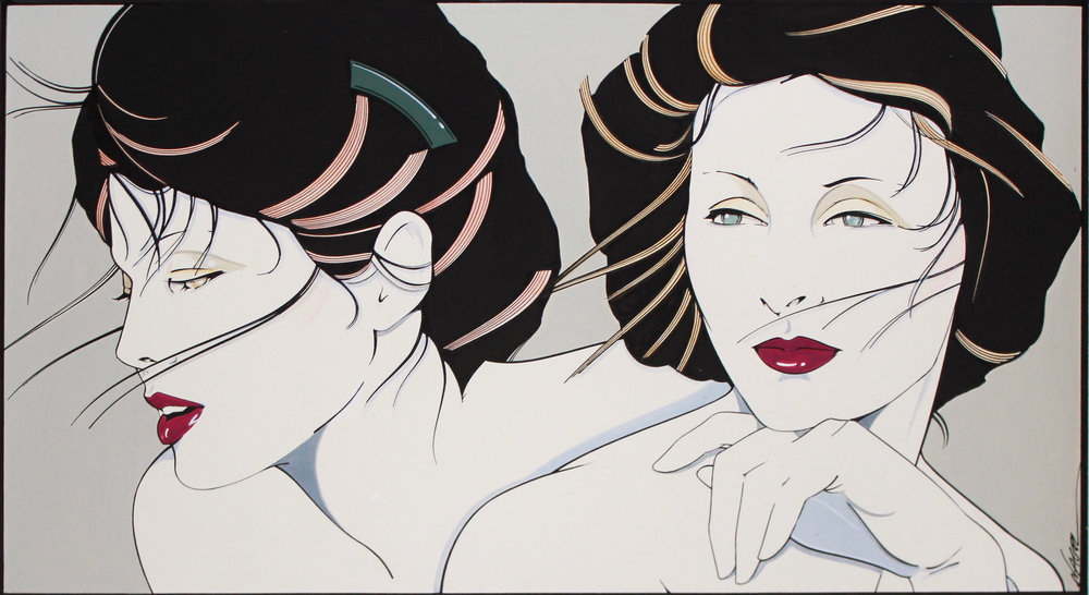 Patrick Nagel  Untitled, c. 1980's Acrylic on board Signed on recto Image: 10 x 18 inches; Framed: 25.5 x 31.5 inches Estimate: $20,000/$25,000
