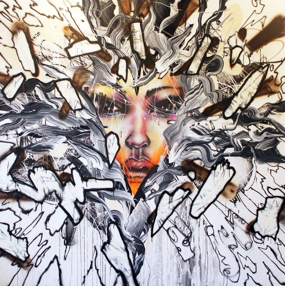 David Choe   Triangle Face with Orange Lips,  2014 Oil paint, spray paint, house paint on canvas Unsigned 85 x 85 inches Estimate: $20,000/$25,000