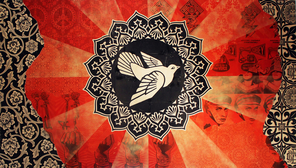 SIDE TWO   Shepard Fairey   Peace Goddess Mural , 2011 Mixed media on double-sided, three-part, on wood panel. Peace Goddess image on front, Dove image on the reverse Unsigned 8 feet x 14 feet Provenance: produced for indoor exhibition at Merchandise Mart Chicago, IL, 2011 Estimate: $25,000/$35,000