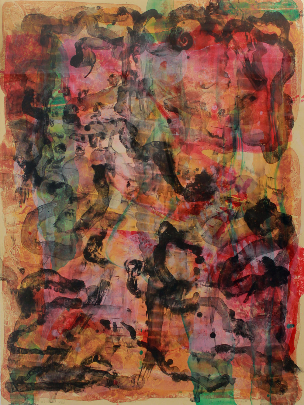 Ed Moses   Untitled (Abstraction I), 1992-2010 Lithograph From the numbered edition of 20 Signed, numbered and dated in pencil on recto Sheet: 47 x 34.5 inches; Framed: 55 x 43 inches Published by Vermillion Editions Limited Estimate: $3,000/$3,500