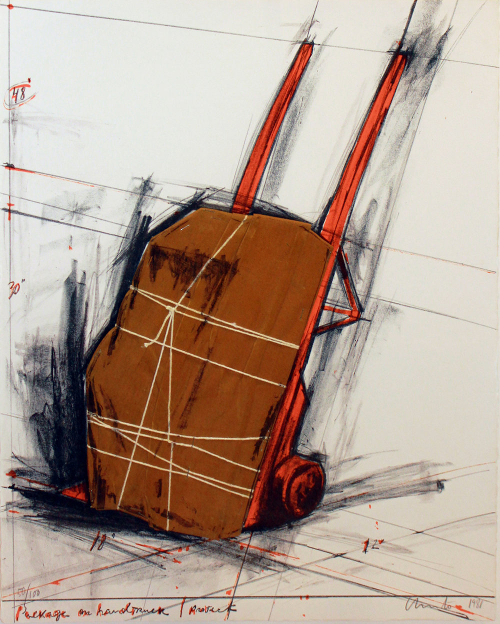 Christo   Package on Hand Truck , 1981 Color lithograph and collage From the numbered edition of 100 Signed, numbered and dated in pencil on recto Sheet: 27.5 x 22 inches; Framed: 36.5 x 31 inches