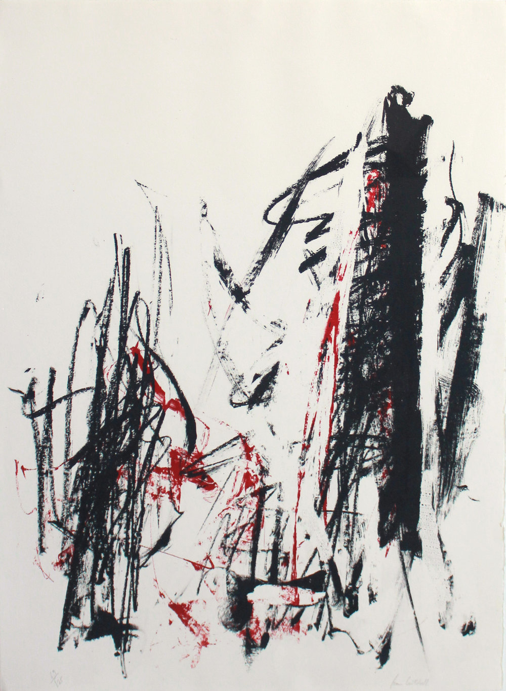 Joan Mitchell   Arbres (Trees) , 1991 Lithograph From the numbered edition of 125 Signed and numbered in pencil on recto Sheet: 30 x 22 inches; Framed: 38.5 x 30.5 inches