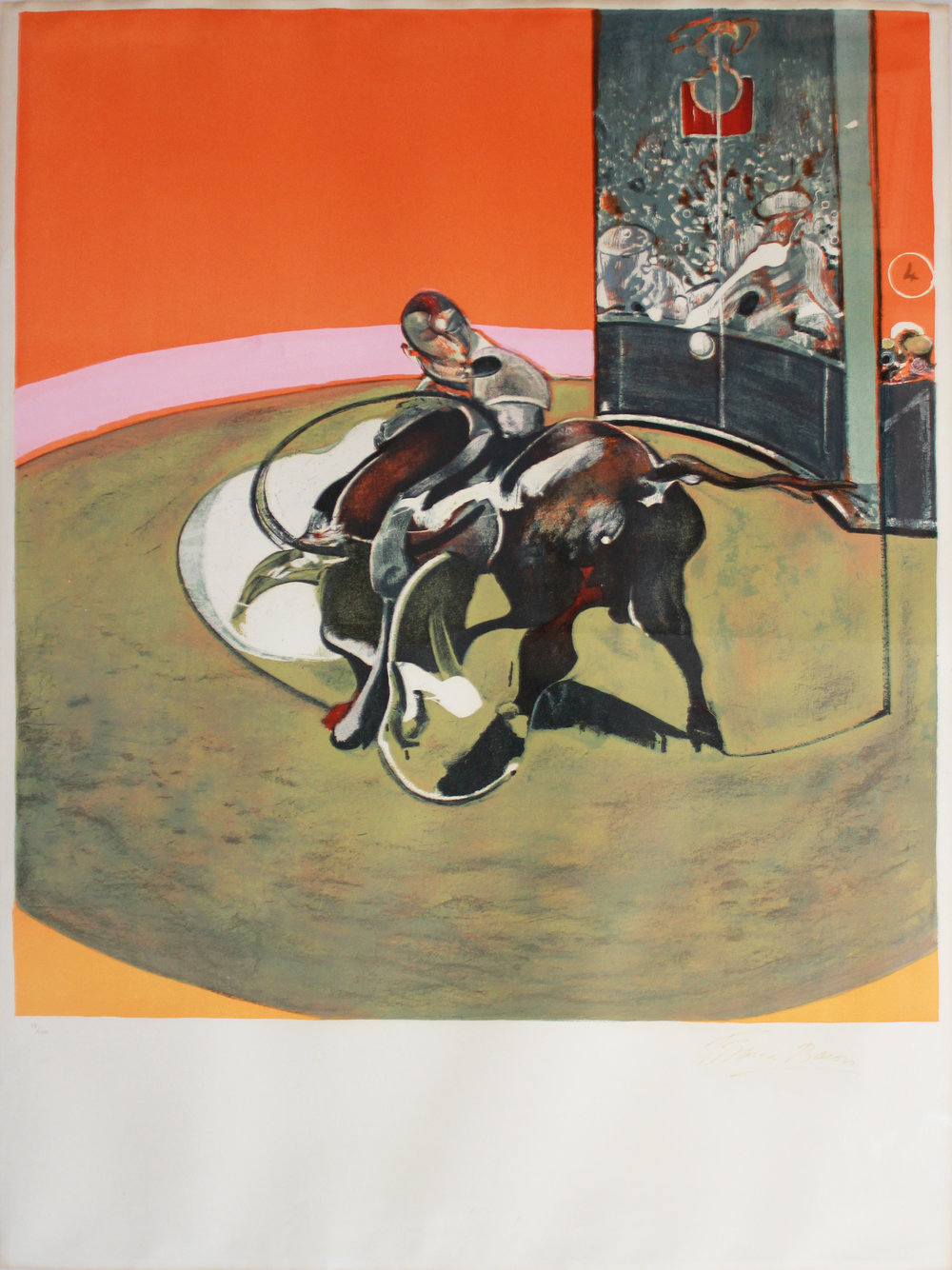 Francis Bacon   Study for a Bullfight no. 1 , 1971 Lithograph on Arches Signed in felt tip pen on recto, signature faded, numbered in pencil Edition of 150 Published by the Musée du Grand Palais Image: 50 x 45 inches; Sheet: 62.5 x 47 inches; Framed: 69 x 53 inches Estimate: $60,000/$80,000