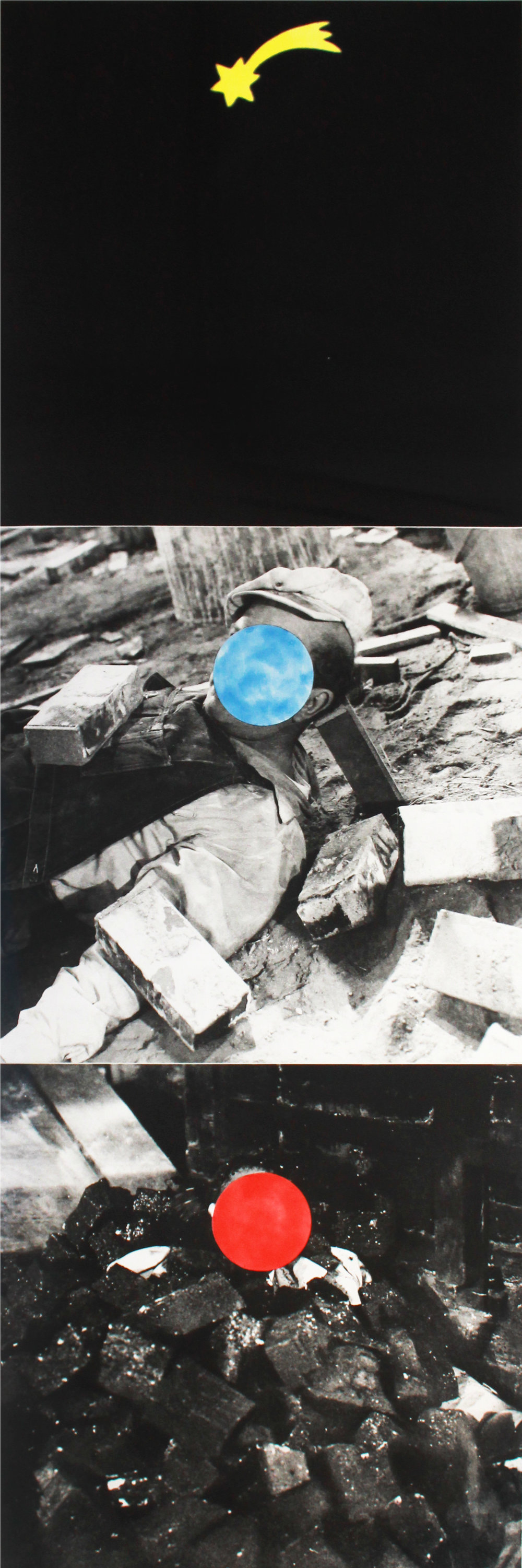John Baldessari   Falling Star , 1989-90 Photogravure with color acquaint From the numbered edition of 45 Signed and numbered in pencil on recto Image: 62 x 20.5 inches; Sheet: 64.5 x 23 inches; Framed: 68 x 26 inches Estimate: $6,000/$7,000