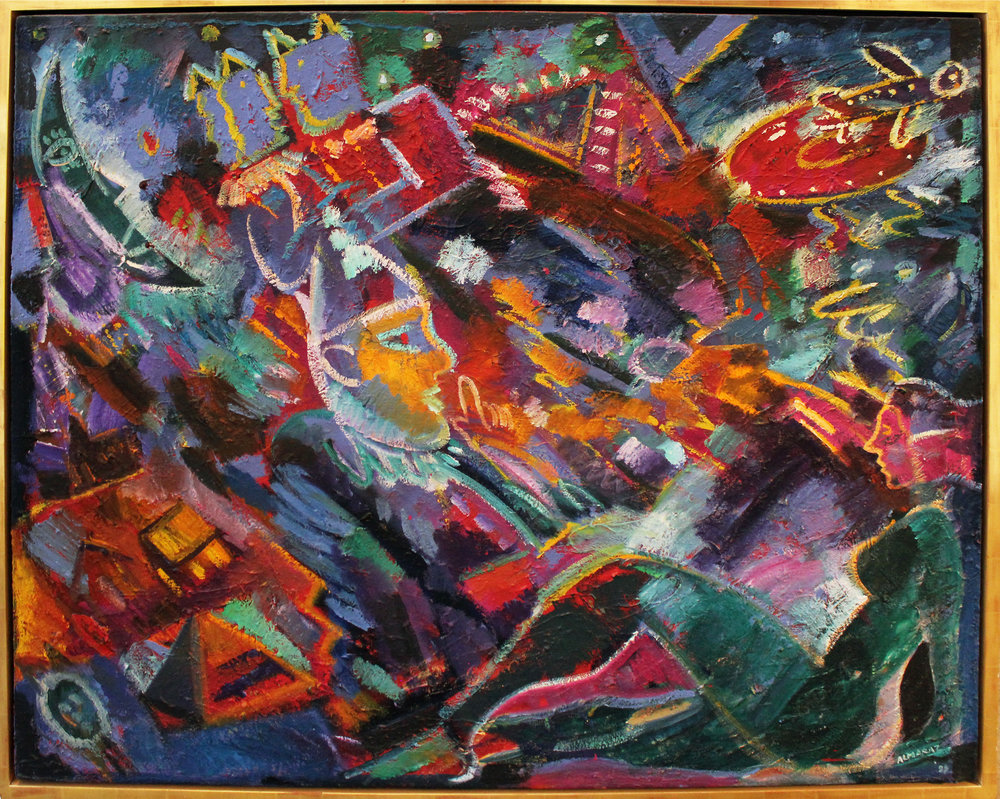 Carlos Almaraz   The Man of Mars , 1989 Oil on canvas Signed and dated on verso Image: 45 x 56 inches; Framed: 48 x 58.5 inches Estimate: $35,000/$45,000