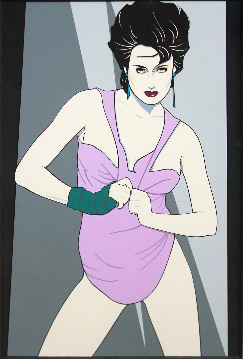 "Patrick Nagel  Untitled, c. 1980's Mixed media on illustration board Unsigned; Playboy Reproduction stamps on verso ""PLAYBOY'S ARTWORK REPRODUCTION PROHIBITED WITHOUT PLAYBOY'S PERMISSION"" stamp Image: 13 x 9 inches; Framed: 22.5 x 17.5 inches Estimate: $14,000/$18,000"