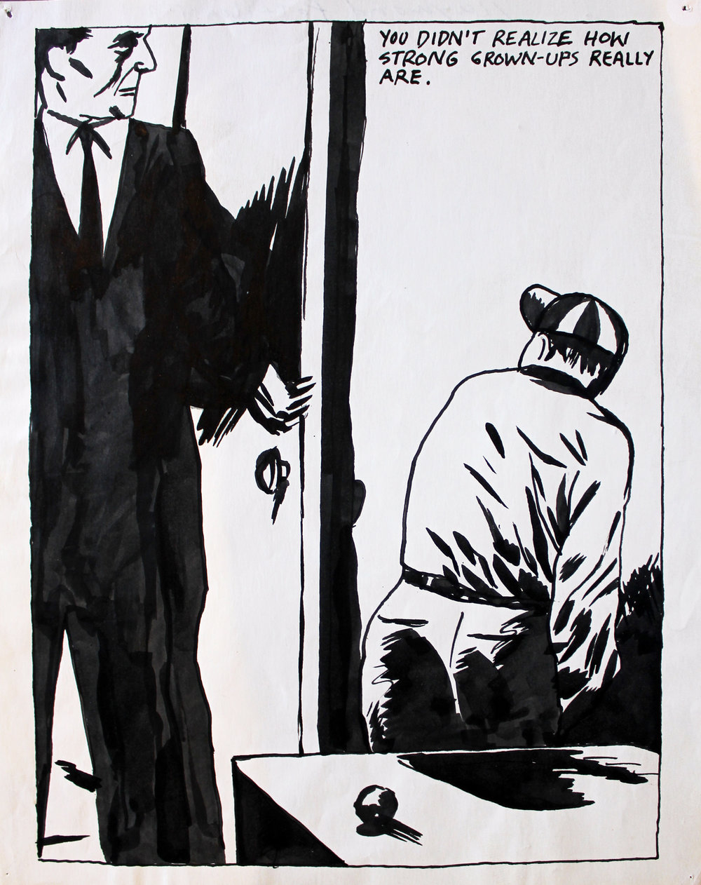 Raymond Pettibon (Born 1961)   No Title (you didn't realize how), 1985  Ink on Paper Signed and dated in ink on verso Image: 10.25 x 7.5 inches; Sheet: 11 x 8.5 inches Estimate: $16,000/$20,000