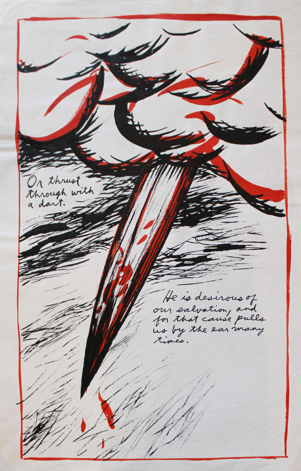 Raymond Pettibon (Born 1961)   No Title (or thrust through), 1987  Ink on Paper Signed and dated in ink on verso Image: 16.5 x 9.75 inches; Sheet: 17.625 x 11.25 inches Estimate: $14,000/$18,000