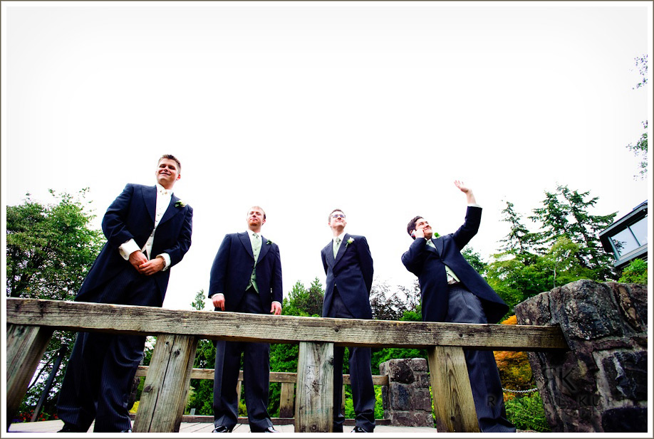 The groom and groomsmen wait