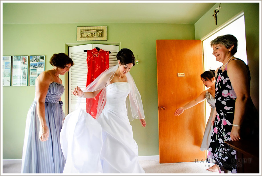 The commotion at the start of the wedding day as Sara puts on her wedding dress