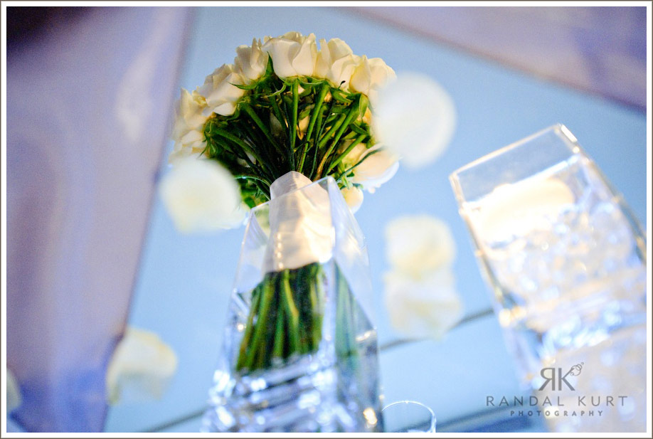 Reflection of a bridal bouquet