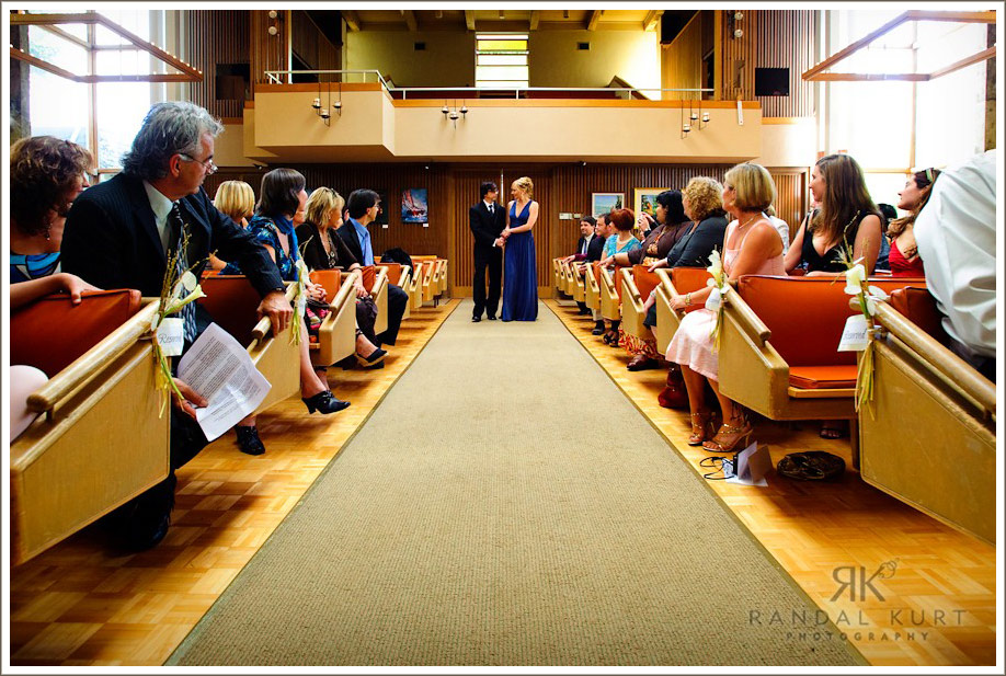 The wedding ceremony begins at the Unitarian Church, Vancouver