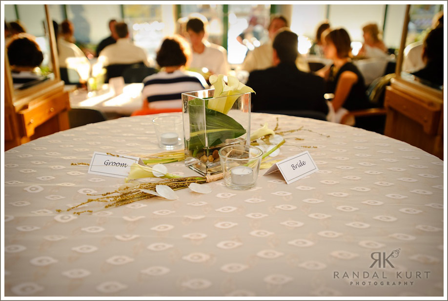 The settings for the bride and groom