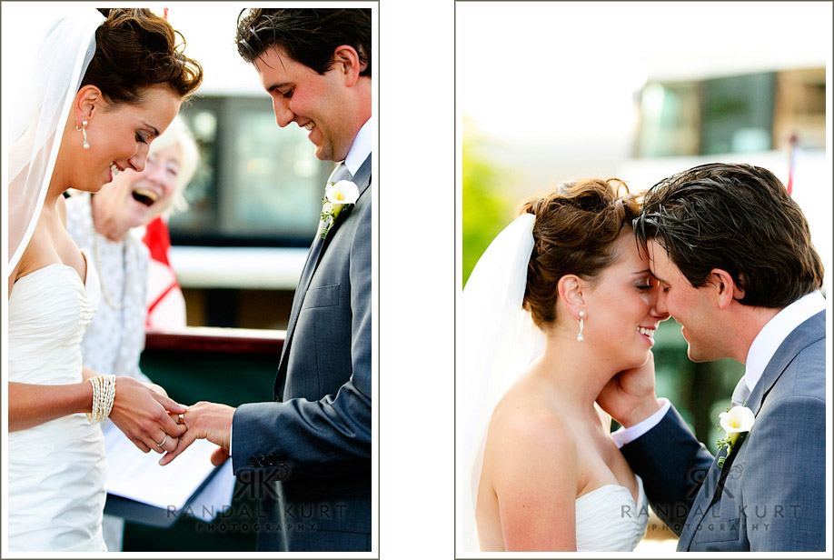 The wedding ring exchange and first kiss