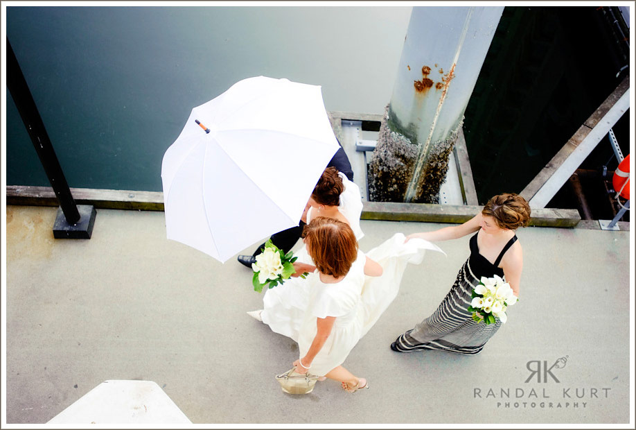 Arrival of the bride at the Magic Charm in Coal Harbour, Vancouver