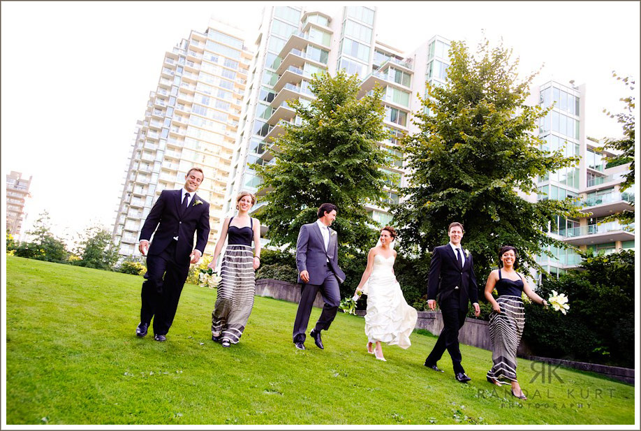 The wedding party heads back to the Magic Charm in Coal Harbour, Vancouver