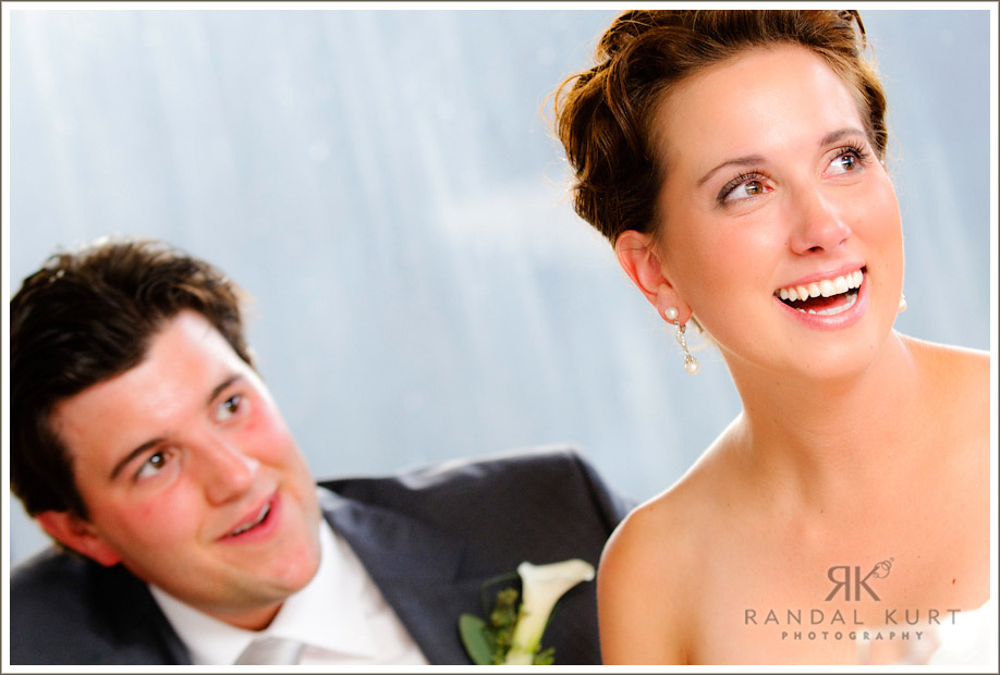 A reaction to a speech at the wedding reception