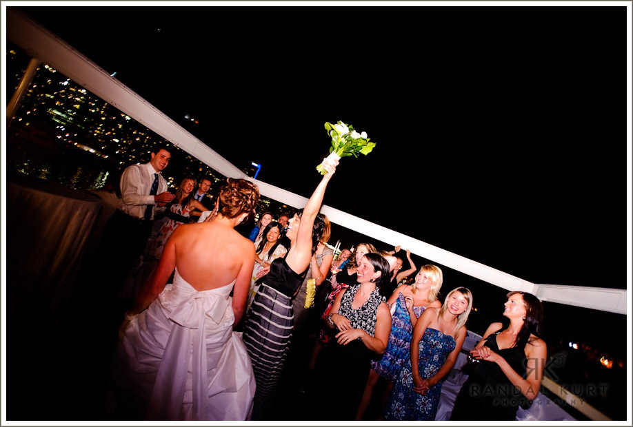 The bouquet toss onboard the Magic Charm in Vancouver