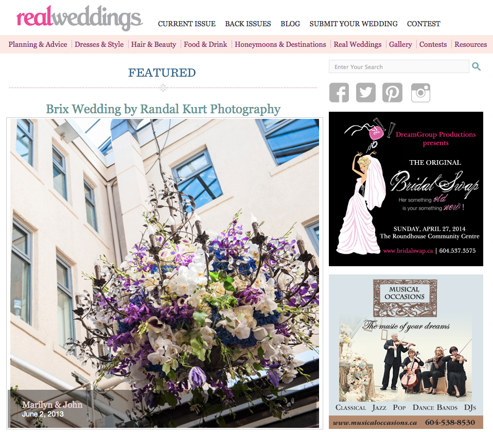 Featured on Real Weddings Blog, Marilyn & John, Brix Restaurant, 2013