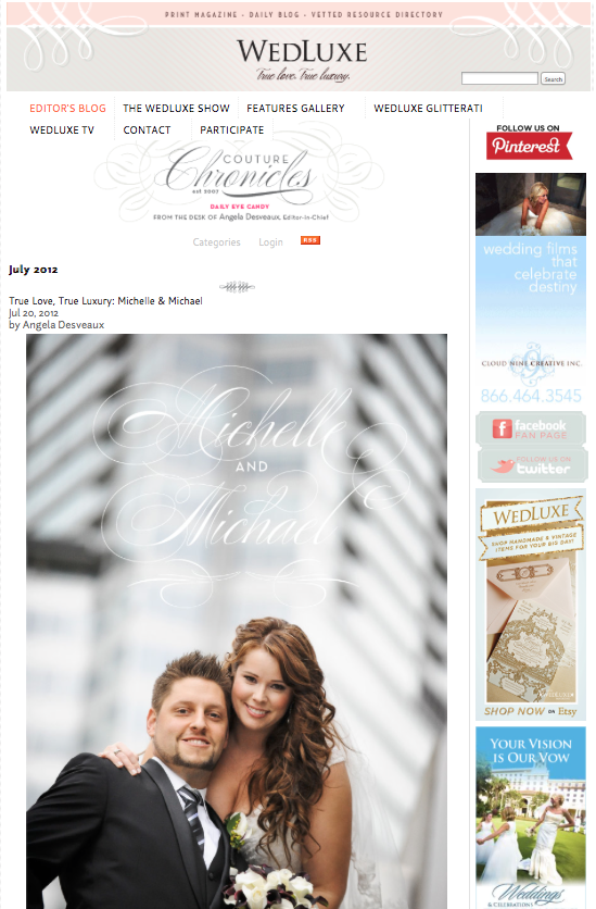 Featured on WedLuxe Magazine's Blog, Michelle and Mike, 2012