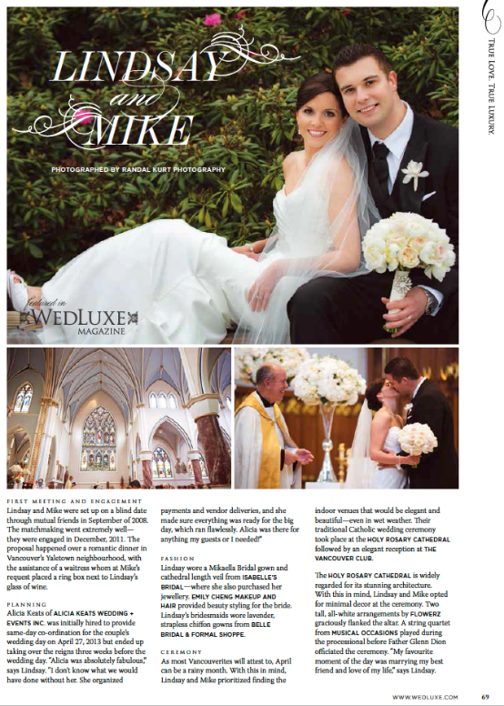 Featured in WedLuxe Magazine, Lindsay & Mike, Winter/Spring 2014