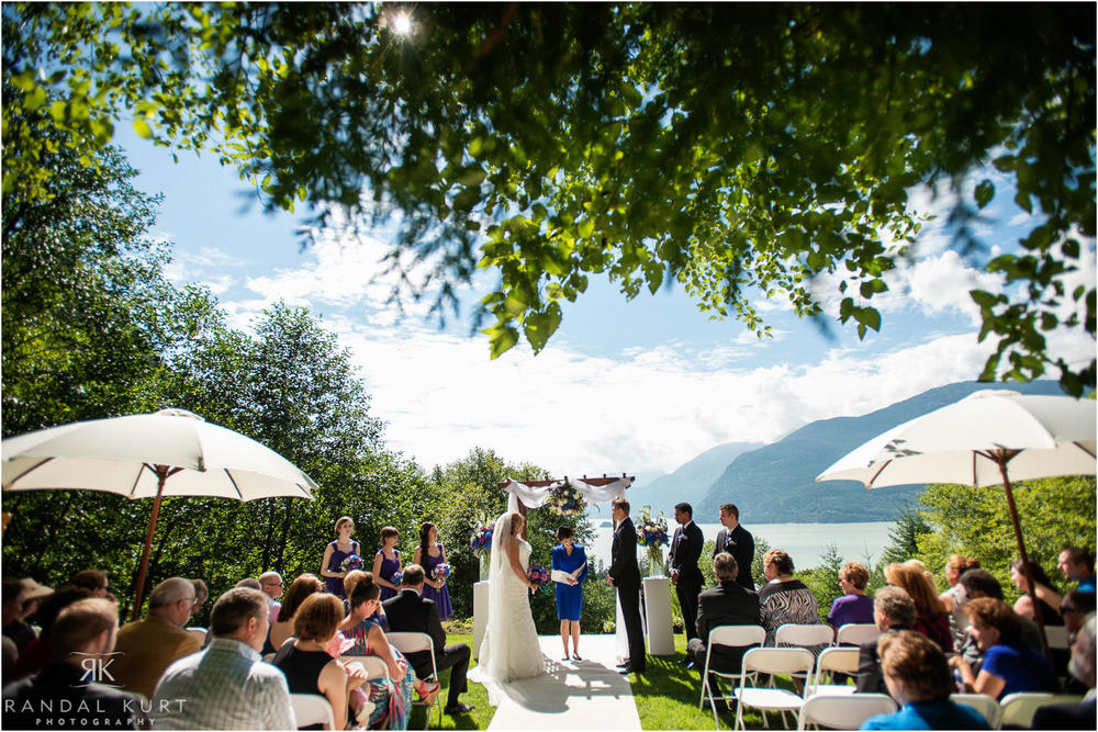 A view of the wedding ceremony at Furry Creek