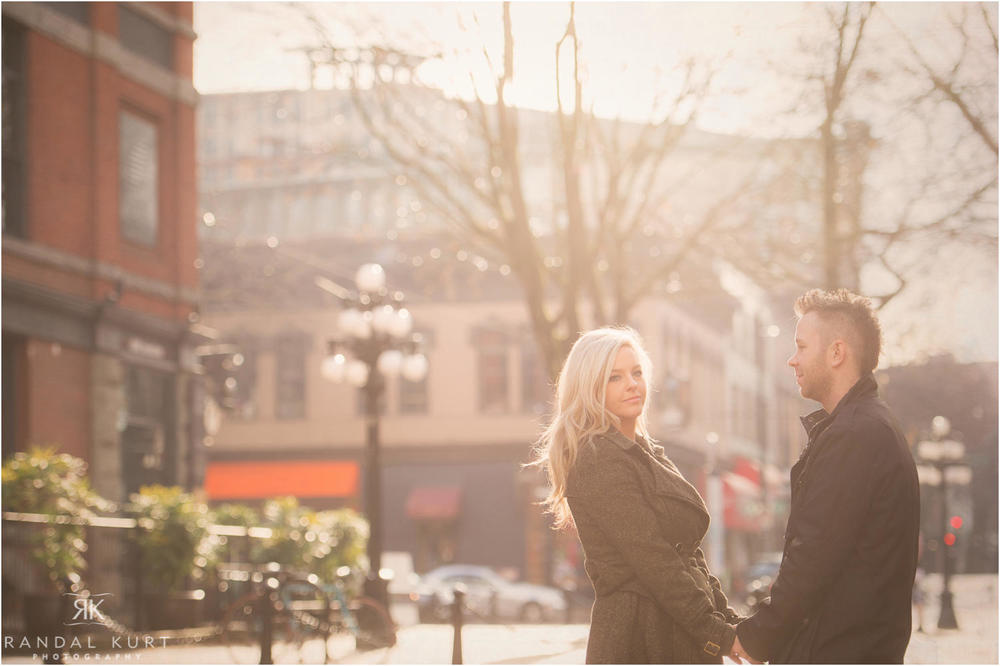 Gastown engagement session in the winter.