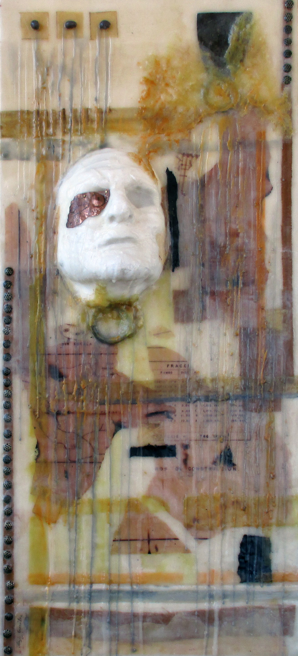 Angela Gonzalez.  ARQUISTA.  36 x 16 inches.  Bees wax, cloth, paper, metal on wood..jpg