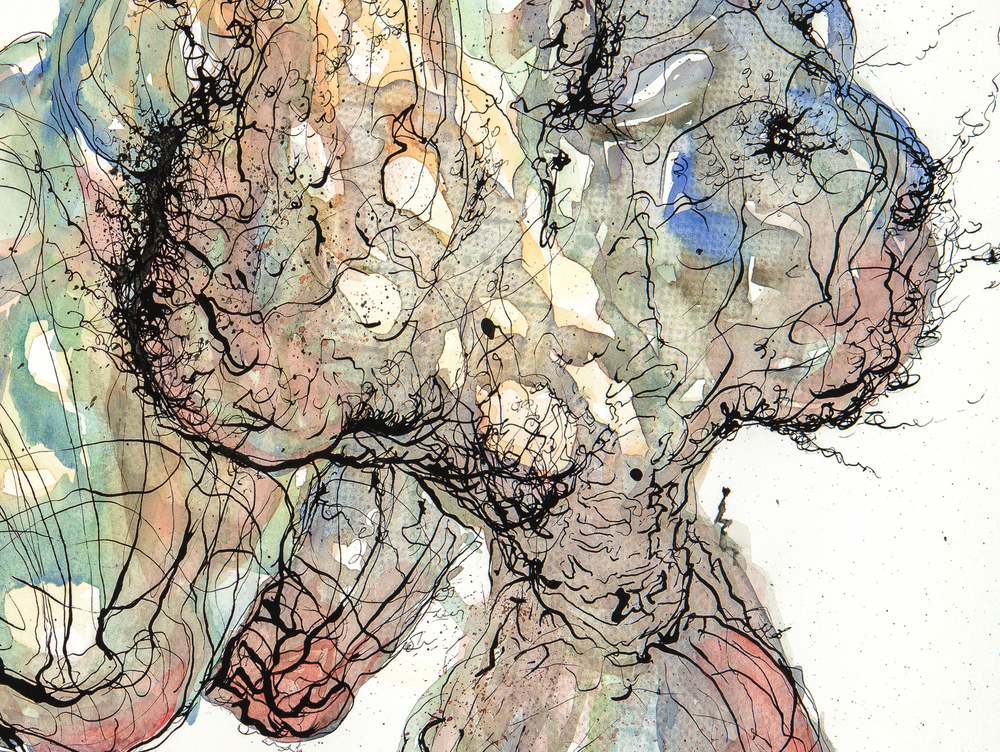 "Portrait of an Artist No. 8 (detail), Icarus Series 2015. Gouache and ink on paper, 18""x24""."