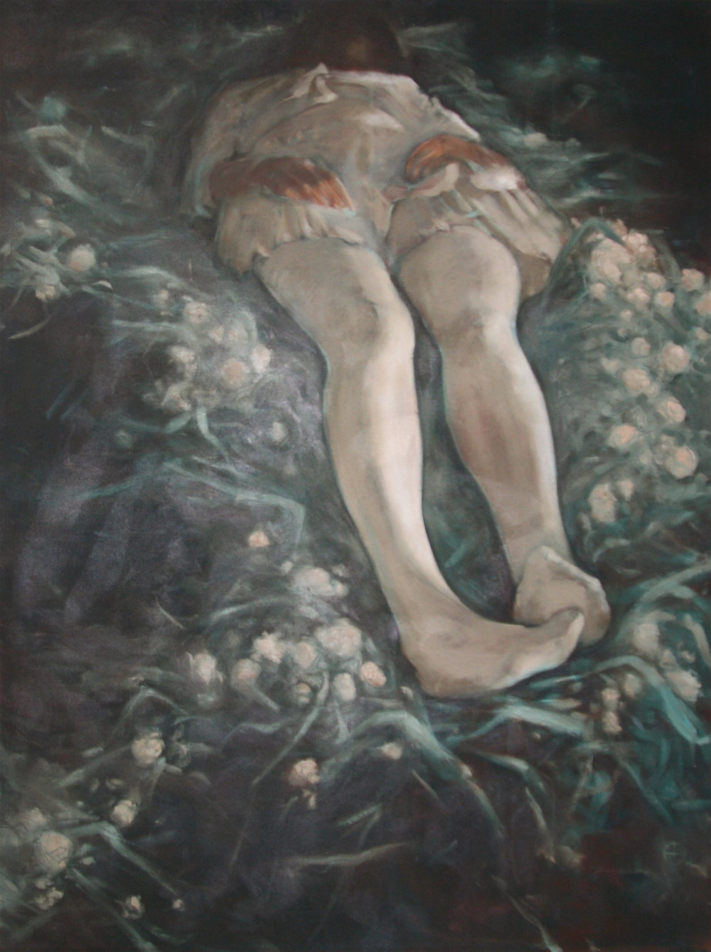 "Ry Beloin, Ophelia, 2014. Oil on canvas, 48""x36"""