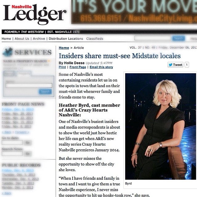 DECEMBER 2013 - HEATHER IS TAPPED AS A NASHVILLE INSIDER FOR THE LEDGER