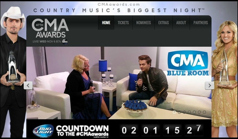 NOVEMBER 2013 - HEATHER INTERVIEWS COUNTRY MUSIC'S BIGGEST STARS INCLUDING TAYLOR SWIFT, HUNTER HAYES, KENNY ROGERS AND MANY MORE AS AN OFFICIAL CORRESPONDENT FOR THE 2013 CMA AWARDS