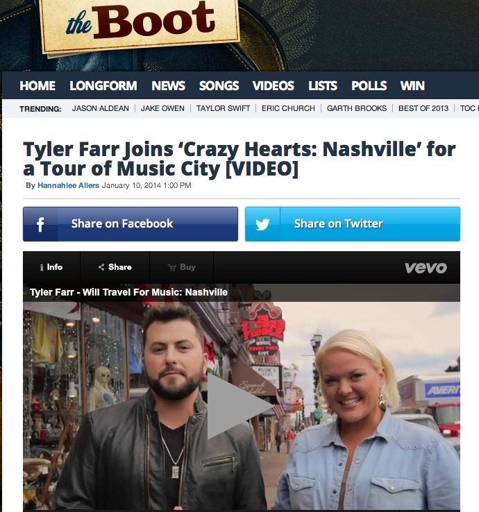 JANUARY 2014: AOL'S THEBOOT.COM FEATURES TYLER FARR AND HEATHER