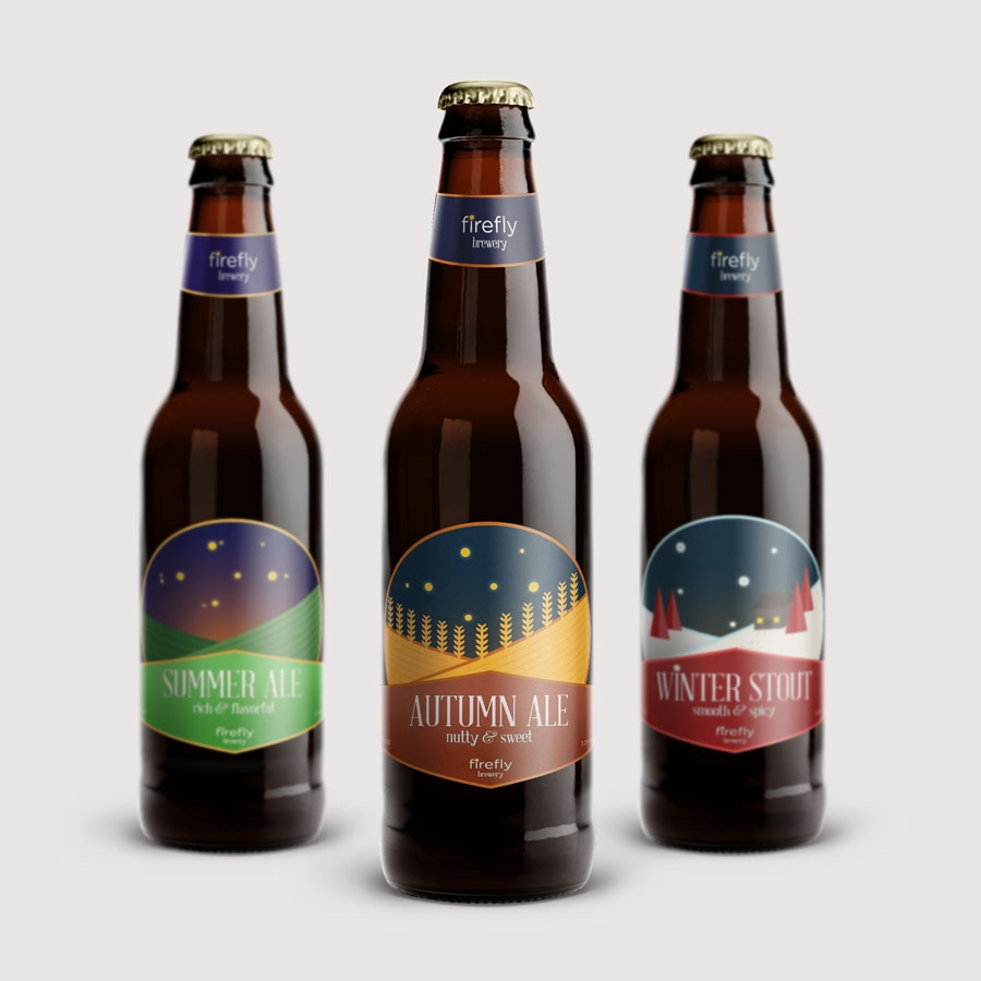 Firefly Brewery branding, packaging