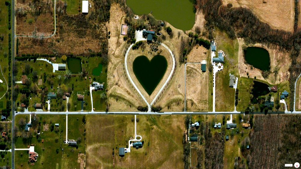 Valentine's Day, 2014   Man-made pond  Columbia Station, Ohio, USA   41°19′16″N 81°55′6″W