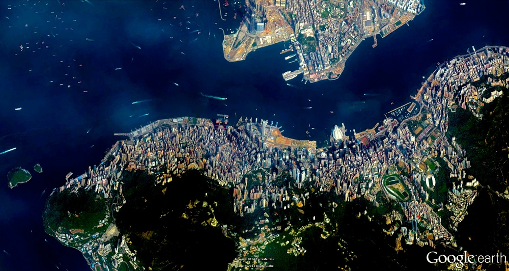 8/31/2014 Hong Kong Island Hong Kong Special Administrative Region 22.279534821°, 114.170375808°  Hong Kong Island (seen in the bottom half of this Overview) is one of the most densely populated areas in the entire world. With a total population of 1,289,500, there are 16,390 residents per square kilometer (41,057 / square mile).