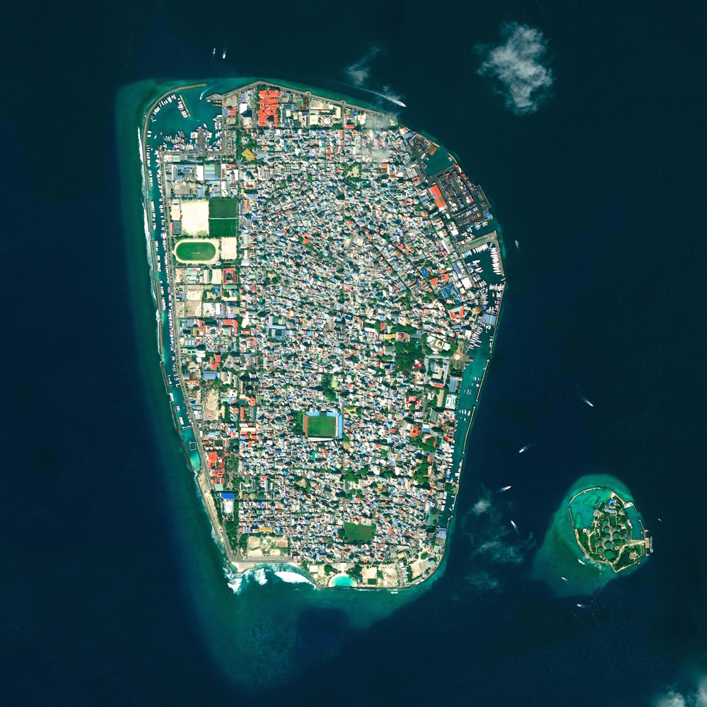5/9/2015   Malé   Malé, Republic of Maldives  04°10′31″N 073°30′32″E     Malé is the capital and most populous city in the Republic of Maldives. With more than 47,000 residents per square kilometer, the heavily urbanized city constitutes the fifth most densely populated island in the world.