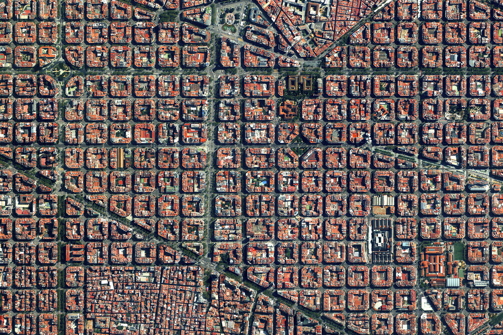 We just added nine new pieces to our Printshop, including this Overview of the Eixample District in Barcelona, Spain! The visually stunning neighborhood is characterized by its strict grid pattern, octagonal intersections, and apartments with communal courtyards.