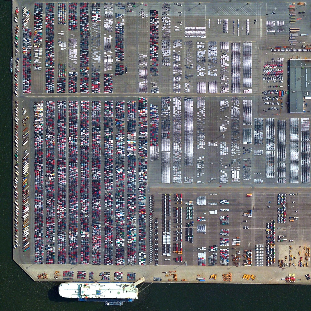 6/3/2015   Port of Antwerp   Antwerp, Belgium  51°16′12″N 4°20′12″E     Automobiles and semi-trailer trucks are unloaded and shipped at the Port of Antwerp in Belgium. In 2014, the facility moved nearly 1.2 million vehicles.