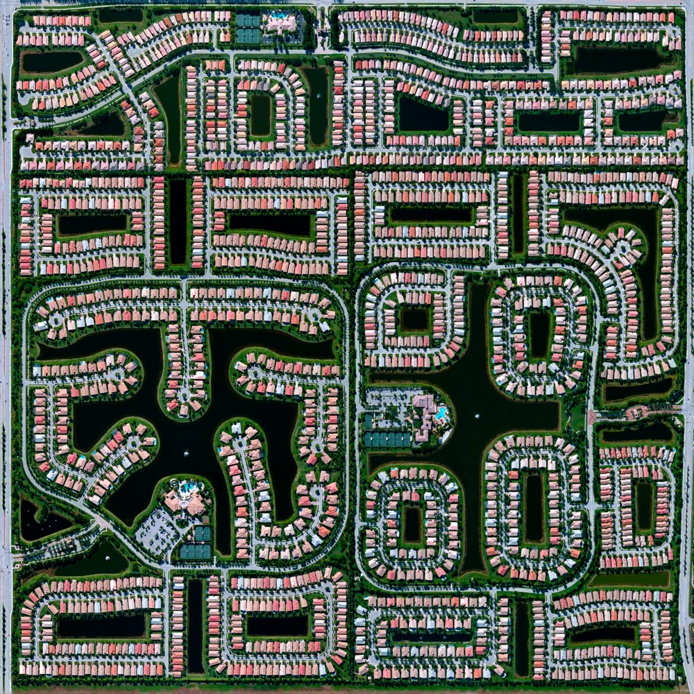 6/11/2015 Residential development Delray Beach, Florida, USA 26.475547616°, -80.156470216°   Residential communities are seen here in Delray Beach, Florida, USA. According to the 2010 census, 20.4% of the town's 34,156 households are vacant.
