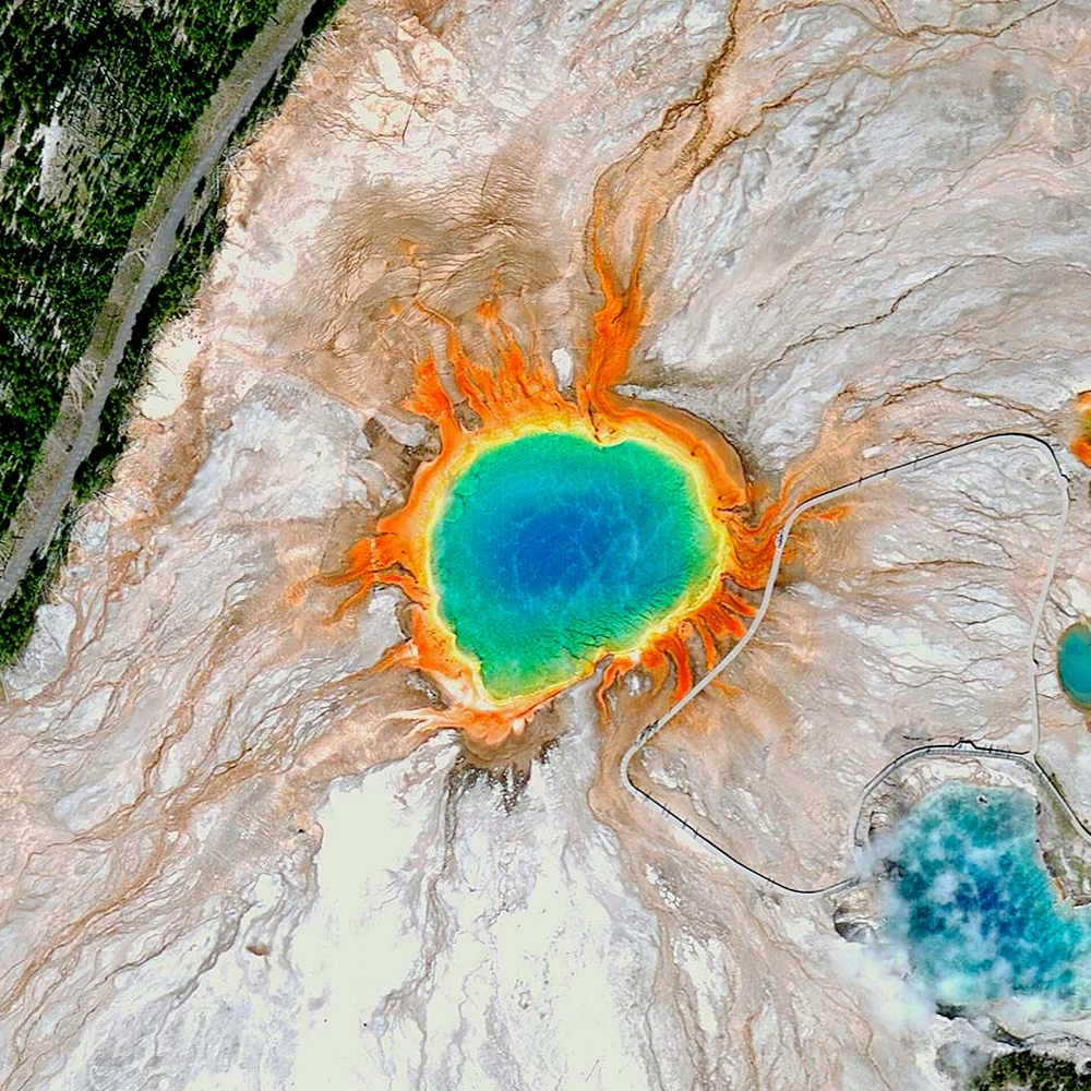 6/28/2015   Grand Prismatic Spring   Yellowstone National Park, Wyoming, USA  44°31′30″N 110°50′17″W     It's been a really joyous weekend here in New York City and across the United States. The Grand Prismatic Spring in Yellowstone National Park shows its rainbow of vibrant colors (caused by the bacteria that grow around the edge of the mineral-rich water). Happy Pride from Daily Overview!