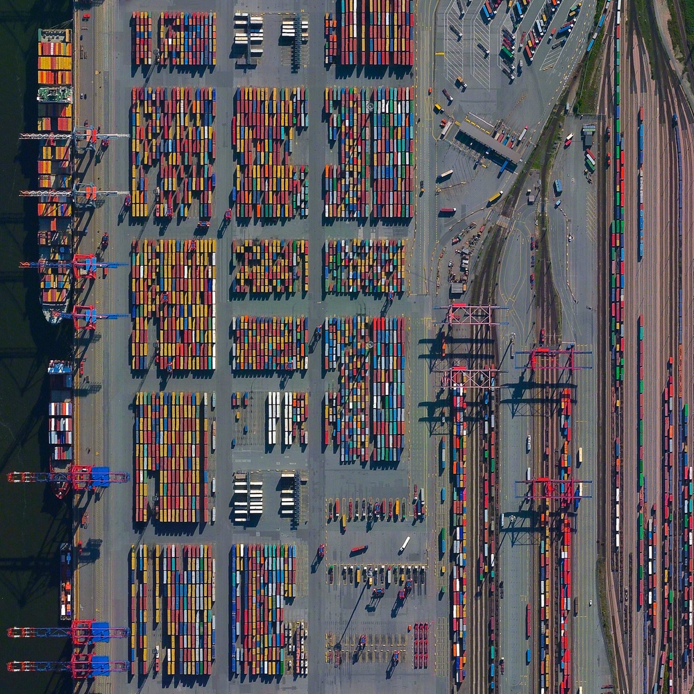 "7/1/2015 Port of Hamburg Hamburg, Germany 53.532581146°, 9.916544334°   The Port of Hamburg - known as Germany's ""Gateway to the World"" - is located on the Elbe River in Hamburg. On an average day, the facility is accessed by 28 ships, 200 freight trains, and 5,000 trucks. In total, the port moves 132.3 million tonnes of cargo each year - that's roughly 1/3 of the mass of all living human beings."