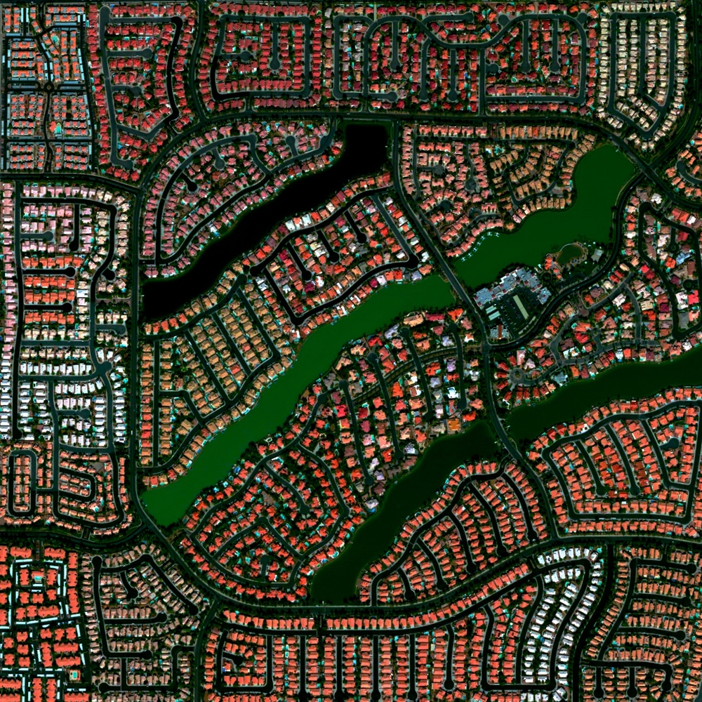 7/11/2015 Desert Shores Community Las Vegas, Nevada, USA 36.210783623°, -115.267039551°   The Desert Shores Community in Las Vegas, Nevada contains 3,351 units and four man-made lakes.