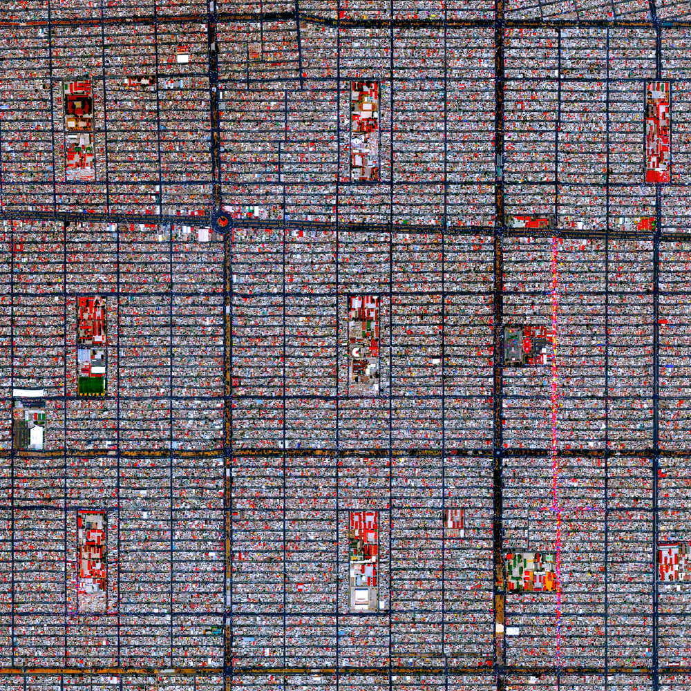 "7/12/2015 Ciudad Nezahualcóyotl Mexico City, Mexico 19°24′00″N 98°59′20″W   This Overview captures the tightly gridded streets of Nezahualcóyotl, a municipality of Mexico City. With a population of more than one million (all of Mexico City contains approximately nine million), the area is home to many of the capital's citizens who have migrated there from other parts of the country. We're excited to announce that a print of this Overview will be on display at our first gallery show - ""New perspectives from above"" - that starts this week. There will be an opening reception Tuesday night from 7-9pm at Cloud Gallery (66 West Broadway). Prints will be on display until August 14th so hopefully our followers in NYC can check it out!"