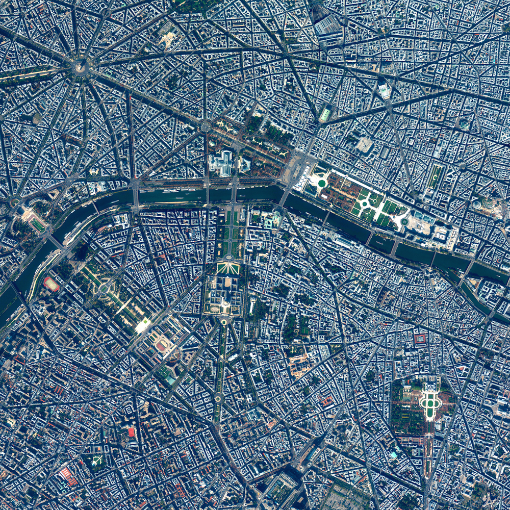 7/14/2015 Paris Paris, France 48.855362595°, 2.312300696°   Today is Bastille Day, or La Fête Nationale as its known in France. The French National Day commemorates the Storming of the Bastille (a fortress and prison) on July 14, 1789 in Paris at the the culmination of a violent revolution that begun two days earlier. To commemorate the holiday we've captured this high-level Overview of Paris. From this vantage point you can see many of the city's famous landmarks such as the Arc De Triomphe (top left), the Grand Palais (center), and the Jardin des Tuileries (center right).