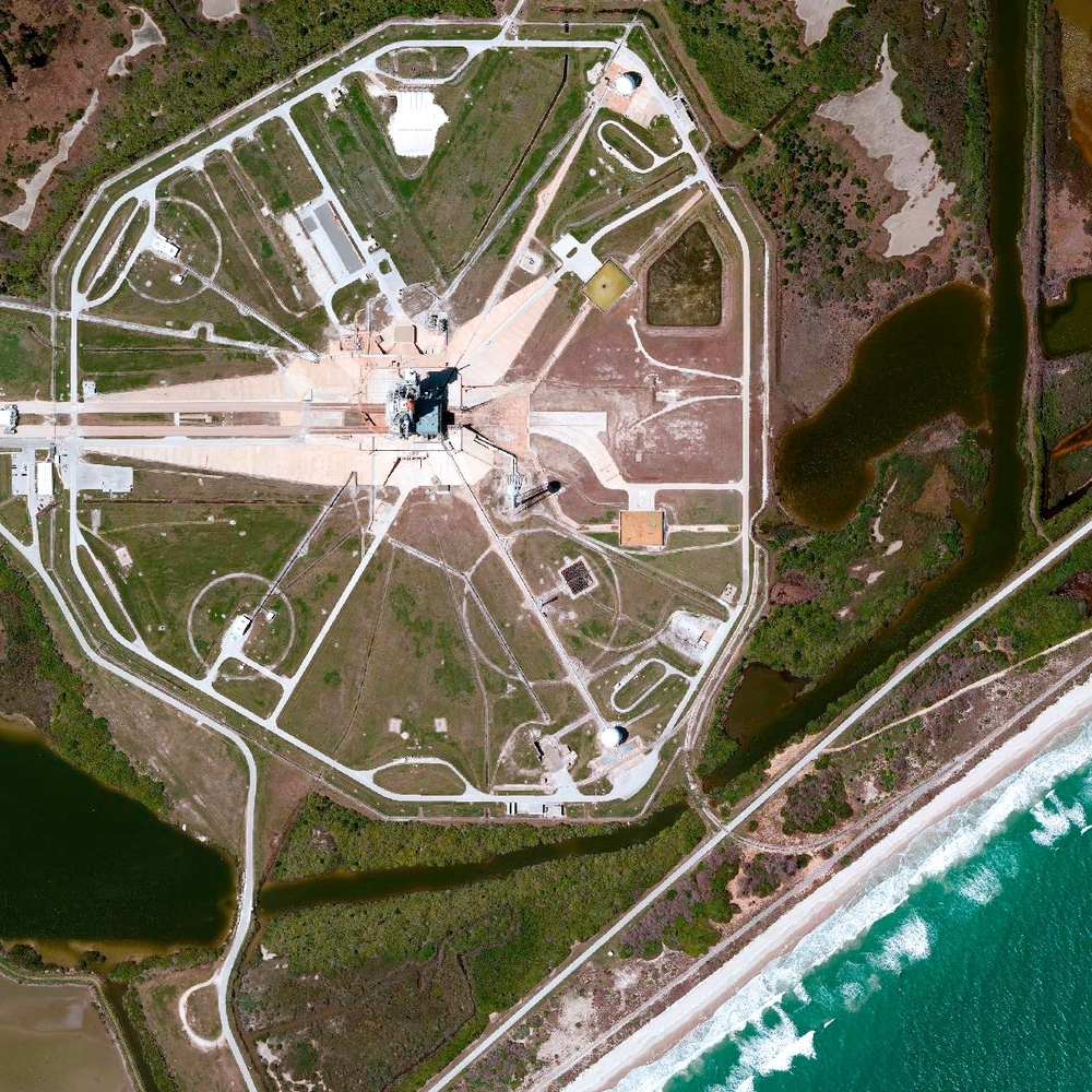 "7/20/2015 Launch Pad 39A Merritt Island, Florida, USA 28.607922683°, -80.603835567°   Today marks the 46th anniversary of the moon landing by NASA's Apollo 11. A Saturn V rocket launched the mission from Launch Pad 39A at the Kennedy Space Center in Merritt Island, Florida, USA on July 16th, 1969. That specific site is scene here. After traveling 240,000 miles in 76 hours, Apollo 11 entered into a lunar orbit on July 19. The next day, at 10:56 p.m., Neil Armstrong stepped off the ladder of the Lunar Module onto the moon's surface and famously remarked ""that's one small step for a man, one giant leap for mankind."""