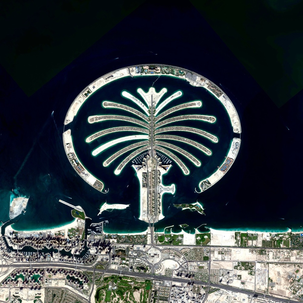 8/18/2015 Palm Jumeirah Dubai, United Arab Emirates 25°6′52.8″N 55°8′16.07″E   The Palm Jumeirah in Dubai, United Arab Emirates is an artificial island that was created with 3.3 billion cubic meters of sand and 7 million tons of rock.